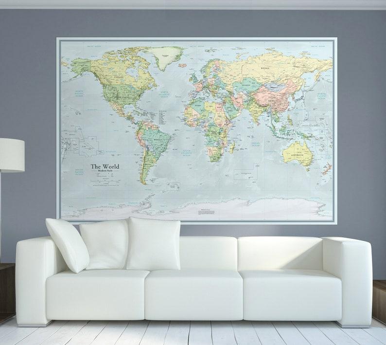 Extra Large World Map 44x66 Etsy