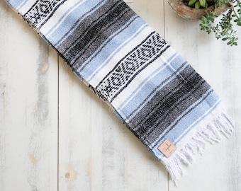 Handmade Mexican Blanket Boho Yoga Serape Textile Saltillo Quilt Southwestern Travel Falsa Woven Throw
