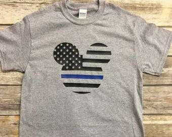 Thin Blue Line Mickey Mouse T-Shirt for Disney World Vacation
