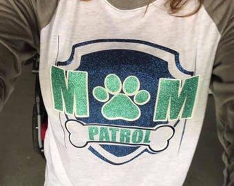 Mom Patrol glitter htv baseball shirt paw patrol mom patrol glitter htv