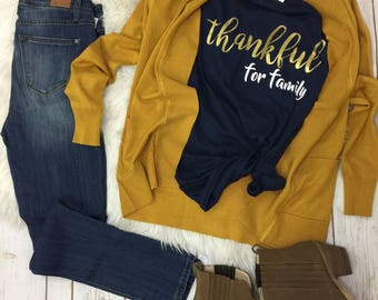 Thankful for family navy shirt with gold letters