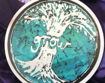 Grow tree batik sticker | hippie bumper sticker | handmade batik tie-dye sticker gift nature tie-dye