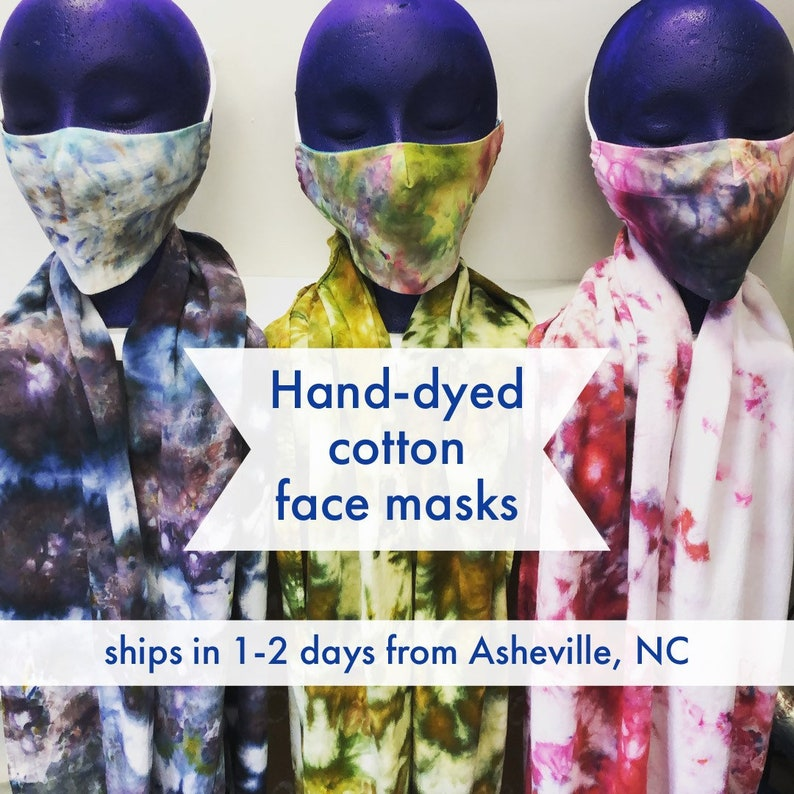 Hand-dyed batik cotton washable 2-layer adult face mask with image 0