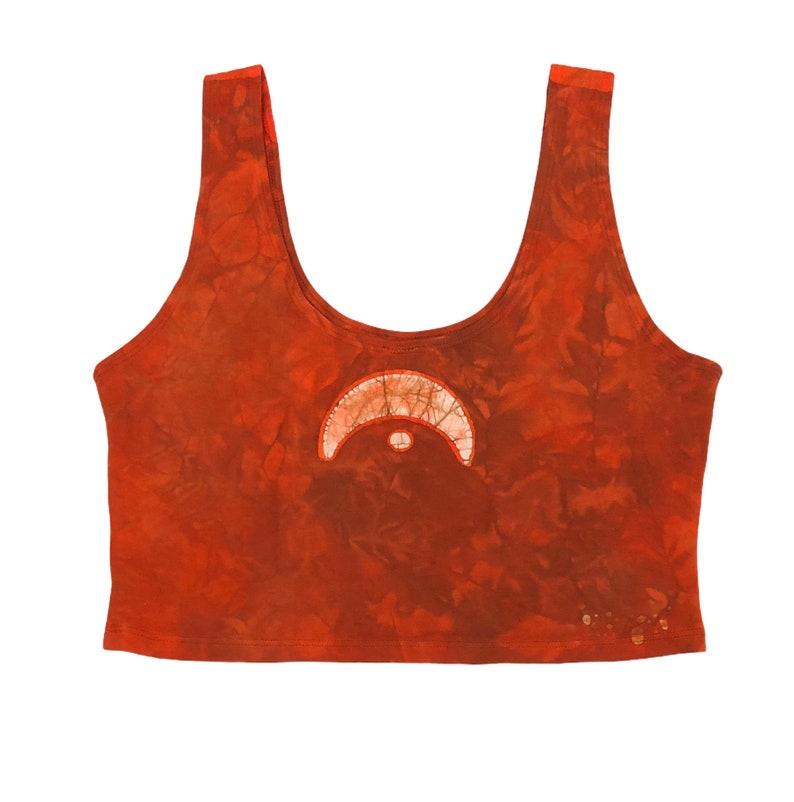 festival climbing burner yoga dance waxonstudio Size XL Crescent Moon chalice rust batik scoopneck crop top for acro slackline
