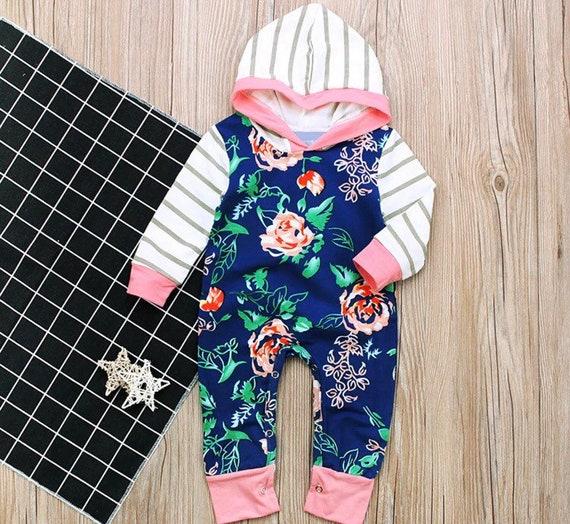 8d16d35b5 White pink stripes long sleeve onesie pants hoodie hooded