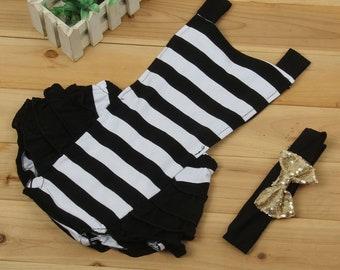 2 pc infant toddler baby girl black and white stripe summer dress bow gold