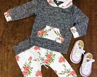 Winter outfit flowers grey infant baby girl pants