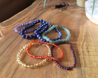 Stretch Chakra Bracelets, Choose from Seven 7 Colors in Semi-precious Gemstones for Your Chakra Needs, Seven Chakra Colors Bracelets
