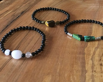 Protective Healing Bracelet, Against Negativity, Made with semi-precious gemstones, Obsidian and a Choice of semi-precious Healing Stones.