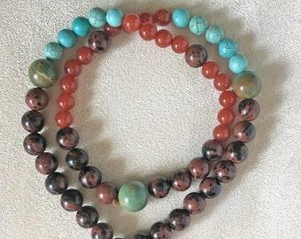 Wrist Mala with 54 Prayer Beads, Mediation Mala Bracelet, Turquoise Beads, Mahogany Obsidian, Red Aventurine, Root Chakra Yoga Beads
