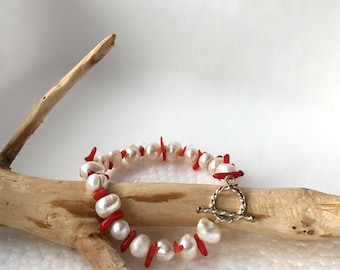 Unique Gift, A Red Coral Bracelet, Real Pearl Bracelet, Cultured Pearl Bracelet, Natural Jewelry at Nature in Things