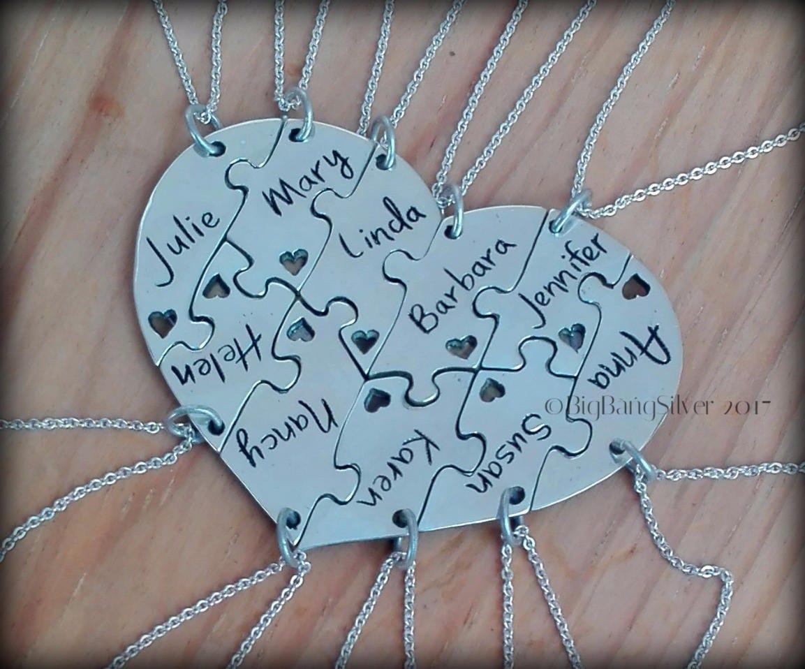 10 Piece Puzzle Heart Necklace. 10 Best Friend Puzzle Heart | Etsy
