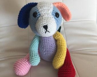 Crochet color Puppy, crochet toy, Amigurumi Dog, stuffed animal, multicolored, crochet dog