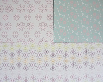 set of 3 sheets of 20 x 20 cm: flowers