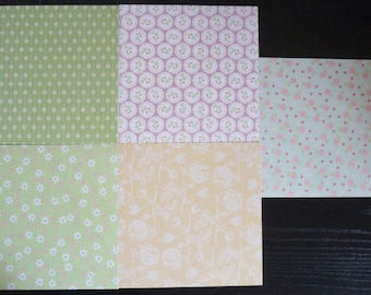 set of 5 sheets 15 x 15 cm: flowers