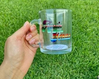 Austin Texas mug; Serape Tea Mug; ATX Tea Glass ;12oz mug; ATX state Print ; Iced Coffee mug; Coffee mug; Coffee tea glass; Coffee lover