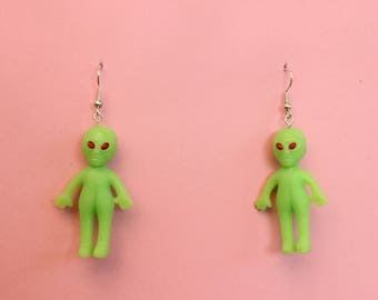 Glow in the Dark Luminous Alien Green men Earrings