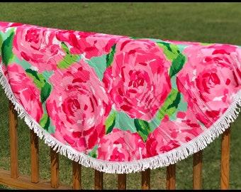 Monogramed circle rose beach towel