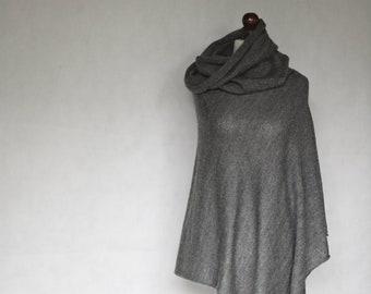 knit poncho, wool poncho, gray poncho, gray scarf, wrap sweater, womens poncho, wrap cape, knit scarf, womens sweater, knit sweater