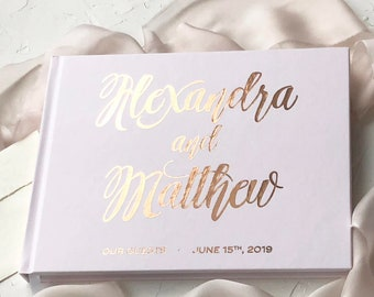 Wedding Guest Book, Real Rose Gold Foil Wedding Guestbook, Gold Foil Hardcover Sign in Book, Custom Wedding guest book, Silver Foil, Copper