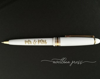 Wedding Pen, Guest Book Pens, Mr and Mrs Pen, Gold Pen, Black Gold White Pen, Wedding Pen Set, Guests pen, wedding gift pen