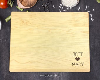 Personalized Cutting Board, Christmas Gift, Engagement Gift, Couples Gift, Bridal, Wedding Gift, Anniversary Gift, Names and Heart, B-0074