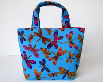 Girl's Bag, Mini Tote Bag, Kids Bag, Handbag for Girls, Blue Butterfly Fabric, Colourful Butterfly Bag, Gift for Girl, Gift for Niece