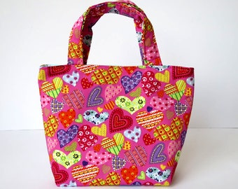 Girl's Bag, Mini Tote Bag, Kids Bag, Handbag for Girls, Pink Hearts Fabric, Colourful Cute Bag, Gift for Girl, Gift for Daughter, Kids Gift