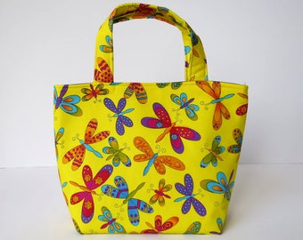 Girl's Bag, Mini Tote Bag, Kids Bag, Handbag for Girls, Yellow Butterfly Fabric, Bright Colourful Butterflies, Pretty Bag for Girl