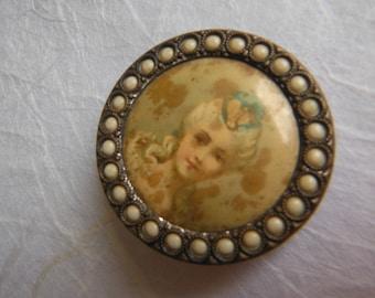 Distressed Antique French Portrait Button