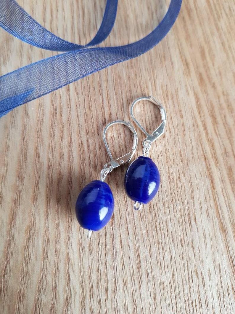 Bead Earrings Gifts for Her Blue Ceramic Blue Drop Earrings Deep Blue