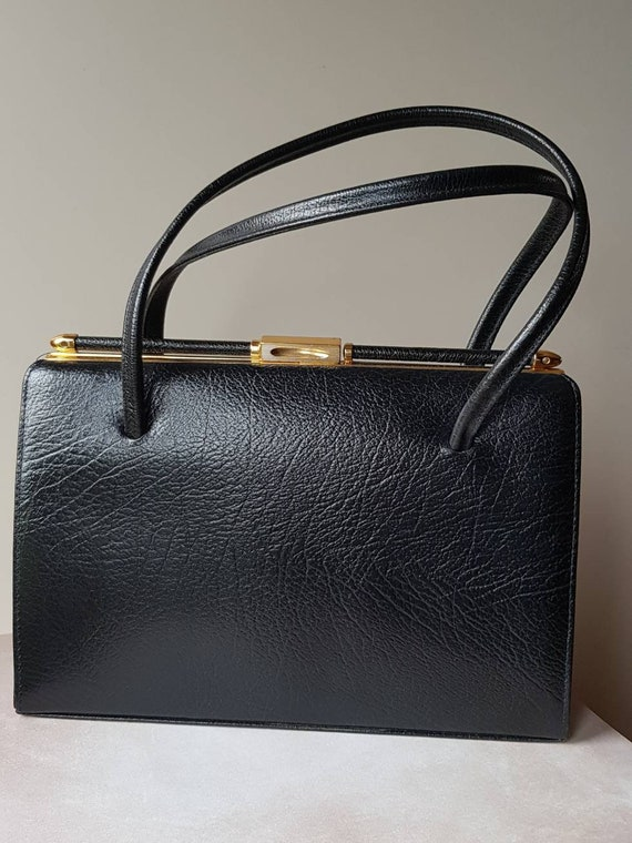 Vintage Leather Handbag, Black Leather by Etsy