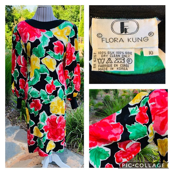 Vintage 1980s Silk Flora Kung Dress