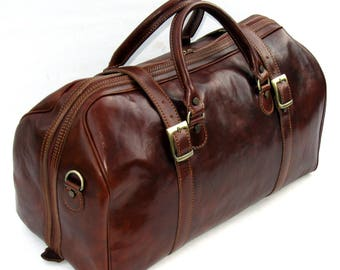 Leather Weekender Duffel Travel Bag by Enzo Olletti