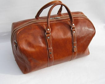 """Larger Leather Weekender Travel Bag made in Italy """"Enzo Olletti"""""""