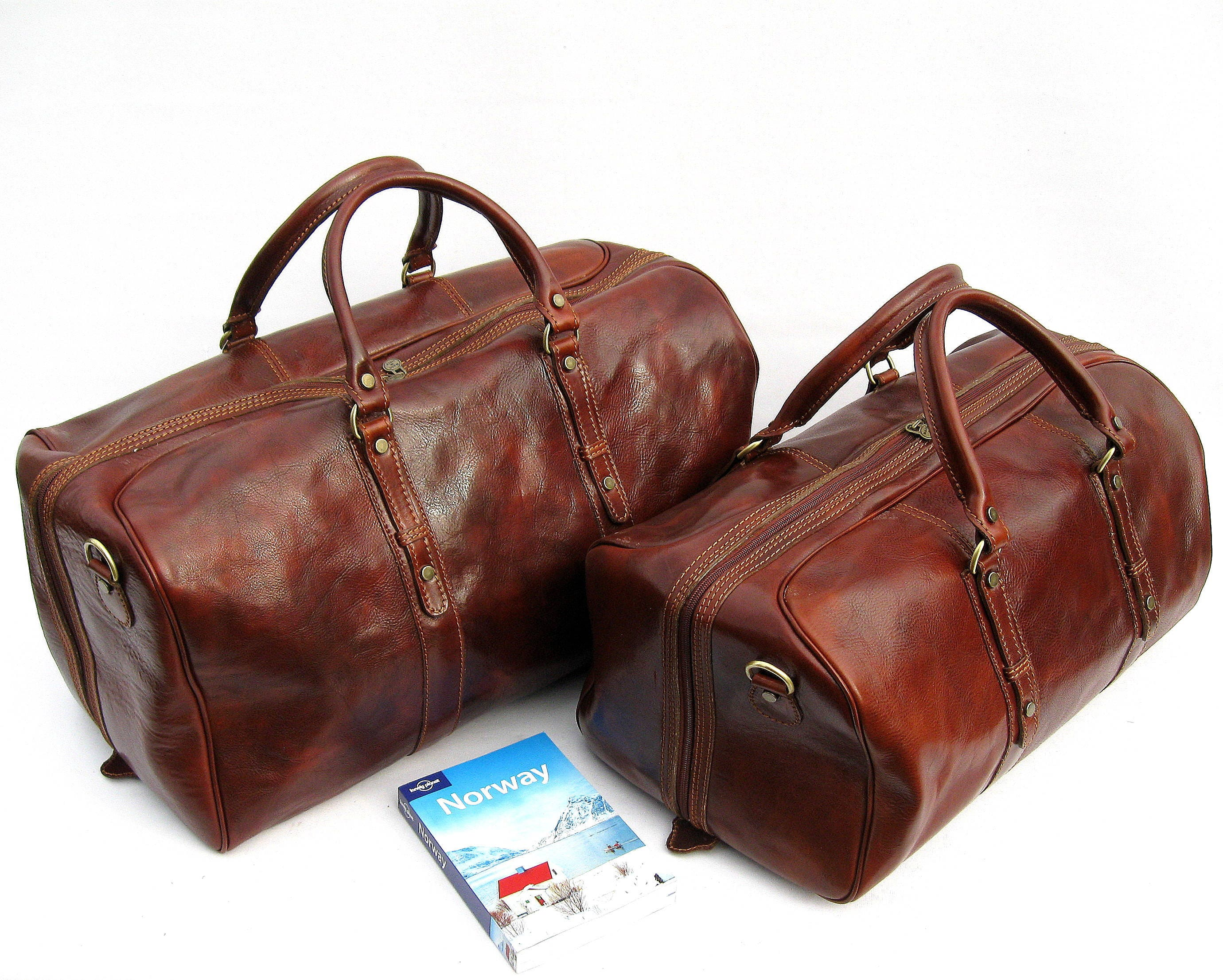 37768eb7dfbd Leather Travel Bag Weekender Set Made In Italy
