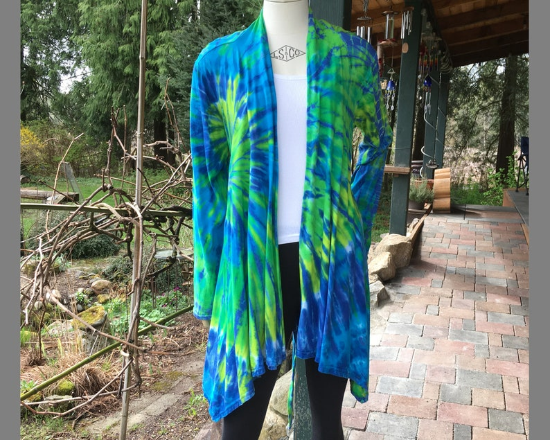 Tie Dye  S/M  Lime Green Blue Swirls  Cotton Waterfall Wrap image 0