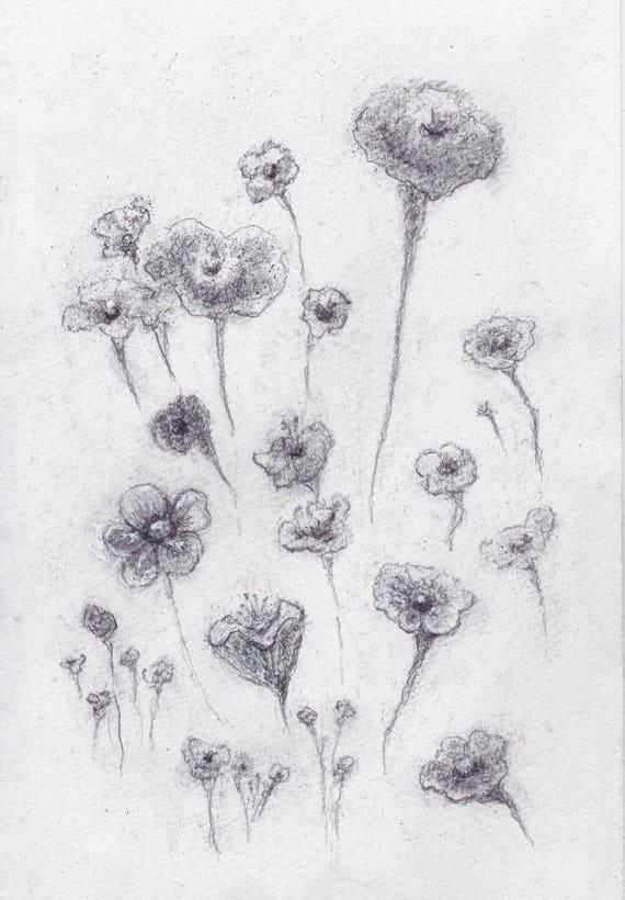 Wabi Sabi Blumen Bleistift Zeichnung Original Kunst Blumen Etsy
