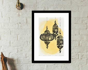 """Original signed artist screen print. """"Moroccan Lanterns with Amber"""", watercolour, ink, black and white, yellow, limited edition art print"""