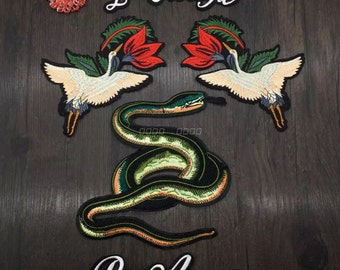 letters crane SNAKE Patch Large Back Patch Full Embroidered Red Snake Animal Sew on Iron on Patch patches for jacket jean patch