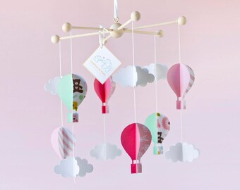 AIR BALLON MOBILE, baby girl mobile, nursery decor, baby crib mobile, baby shower gift, cloud mobile, baby room decor, baby born gift