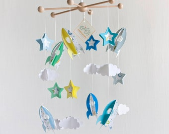 space mobile baby, BABY MOBILE Rockets, baby mobile stars, nursery mobile, baby gift, blue baby room, babyshower gift, crib mobile kids
