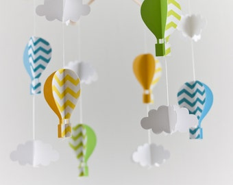 AIR BALLOON MOBILE, baby girl mobile, nursery decor, baby crib mobile, baby shower gift, cloud mobile, baby room decor, baby born gift