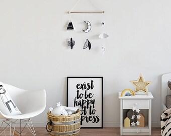 scandinavian nursery black, baby MOBILE black white, Scandinavian Style, nursery nordic baby mobile, wall hanging mobile, scandi baby gift