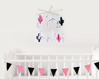 pink black mobile baby, pink black nursery decor, pink crib mobile, pink nursery boho, cactus room decor, hanging baby mobiles, baby gift