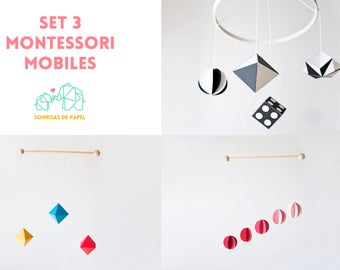 Set 3 Montessori mobile, MUNARI mobile, GOBBI mobile, OCTAHEDRON mobile, Baby crib mobile, black white nursery, hanging mobile, new born