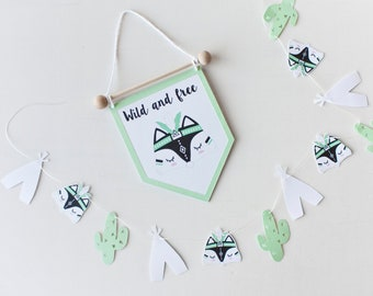 Black mint FOX DECOR for baby room, black mint wall decor, Tribal fox pennant, Tribal fox banner for nursery, christening baby gift