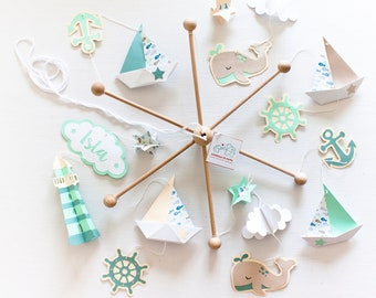 Sailing boats mobile baby. Neutral nursery mobile for sailboat theme. Ocean nursery mobile.