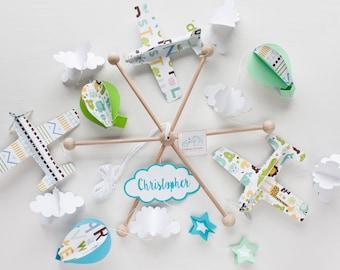 Traveler mobile. Adventurer mobile. Airplane ballons mobile baby. Airplane ballons and clouds baby crib mobile. Green mint blue nursery room
