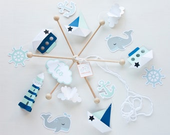 Whale mobile baby, sailboat mobile, Crib mobile nautical, baby mobile navy nursery, navy blue mobile boy, kids room decor, navy Baby gift